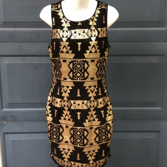 Skies Are Blue Dresses & Skirts - Skies Are Blue | Black & Gold Sequin Aztec Dress
